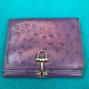 Handbags - Purple Leather Wallet w Bridle Bit Style Closure